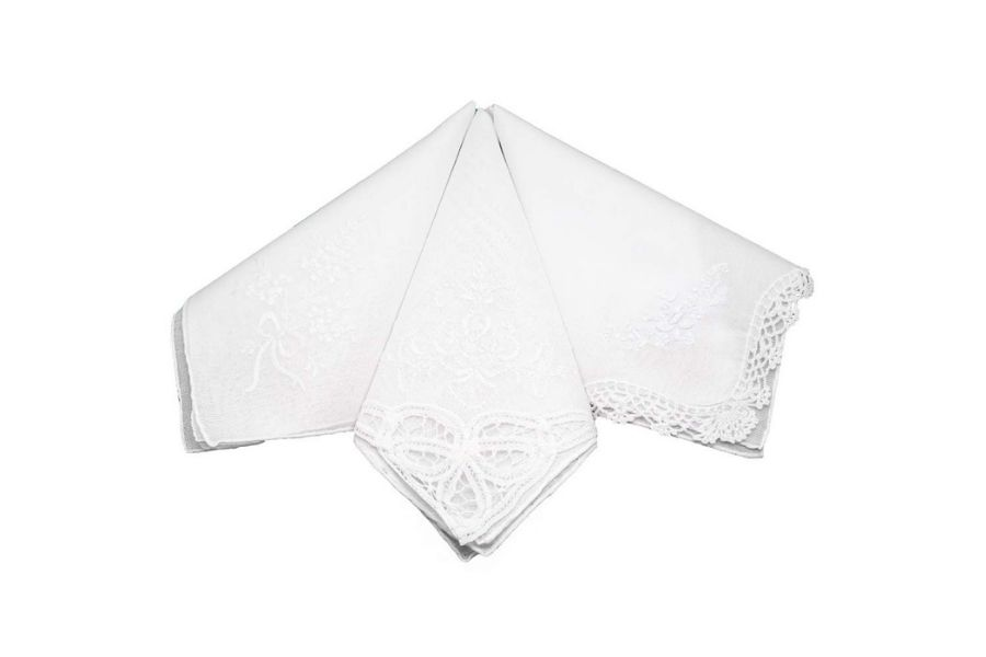 Bumblebee Linens White Floral Embroidered Wedding Ladies Woman Cotton Handkerchief