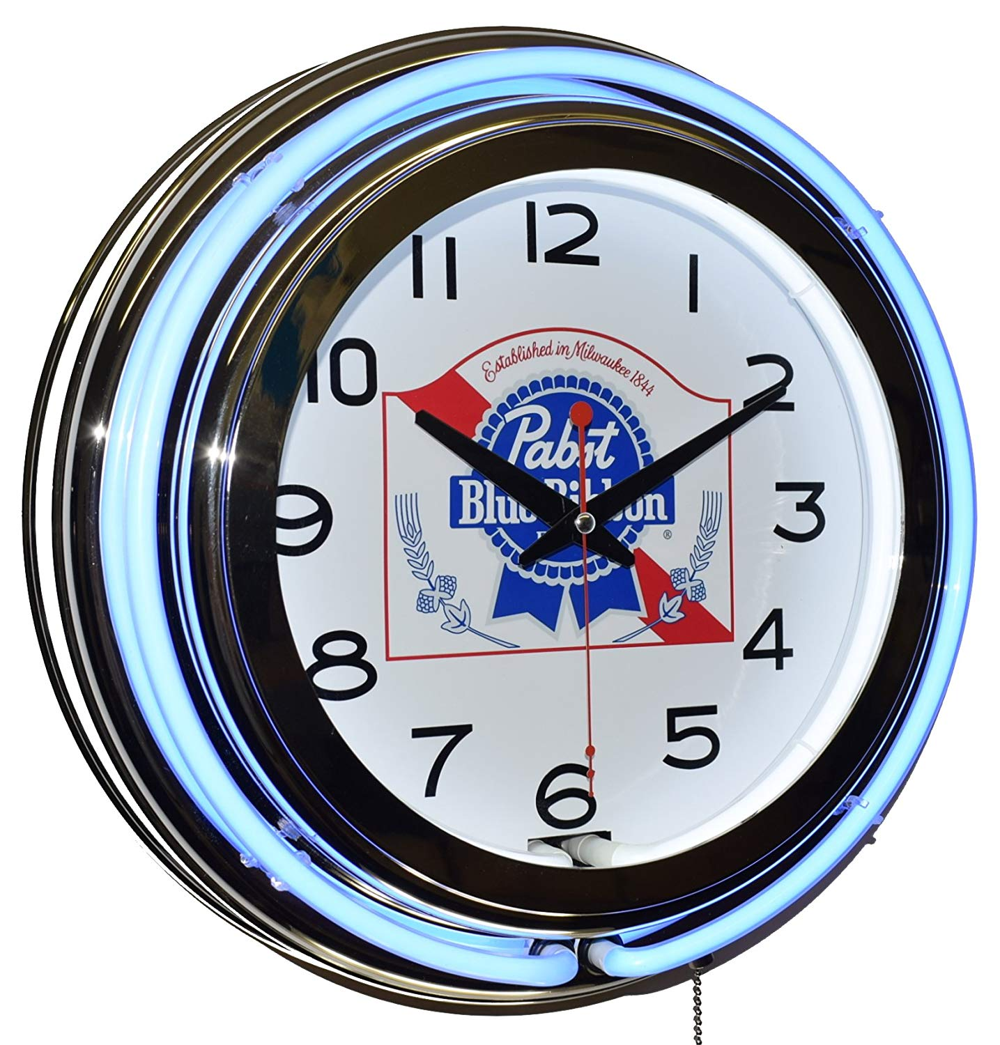 Pabst Blue Ribbon Beer Blue Double Neon Advertising Clock Man Cave Game Room Decor